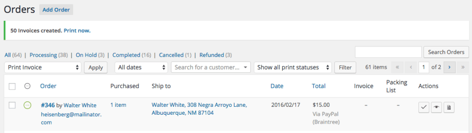 print invoices and packing lists plugin for wordpress and woocommerce