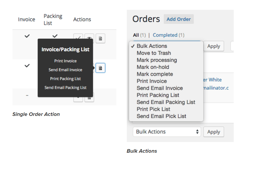 Quick Single and Bulk Order Actions