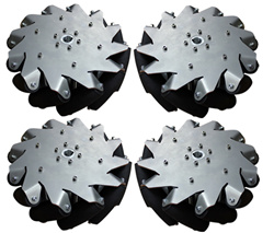 A set of 254mm (10inch) steel body mecanum wheel (4 pieces) with Bearing Rollers 14141