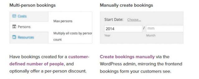 Multi person bookings