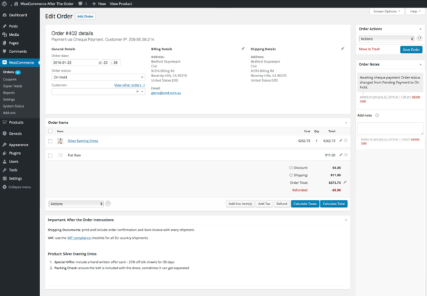 Order notes shown on your WooCommerce order management dashboard