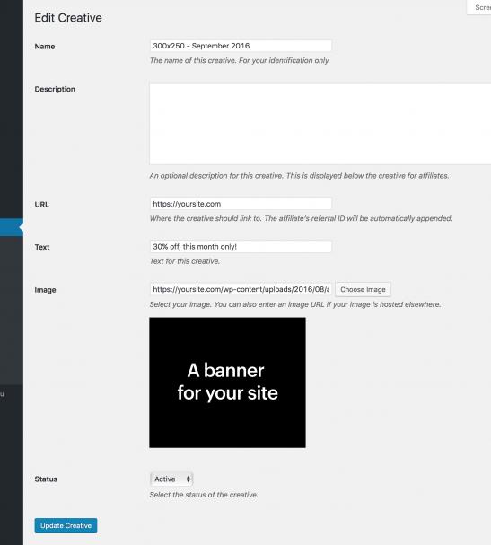 WordPress affiliate plugin admin panel