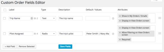 Admin Custom Order Fields Examples