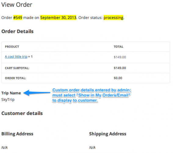 Customer Experience - Viewing Order Fields set by the Admin