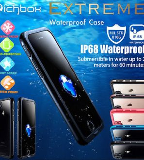 Waterproof and Shockproof iPhone case Richbox jet black for i7 Plus