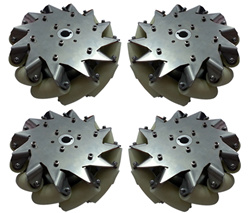 A set of 203mm 8inch stainless steel body mecanum wheel 4 pieces with Bearing Rollers