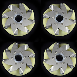 A set 6 Inch Industrial wheel Mecanum wheel with 8 PU Roller 150KG load