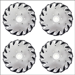 A set of 6 inch 152mm mecanum wheels 4 pieces with Bearing Rollers