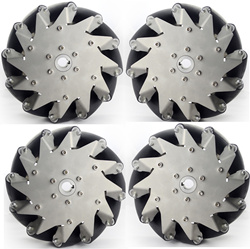 A set of 203MM stainless steel mecanum wheels with rubber rollers 4 pieces
