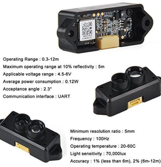 LiDAR Distance Measurement Sensor Tfmini 12m for Drones and UAV Robots