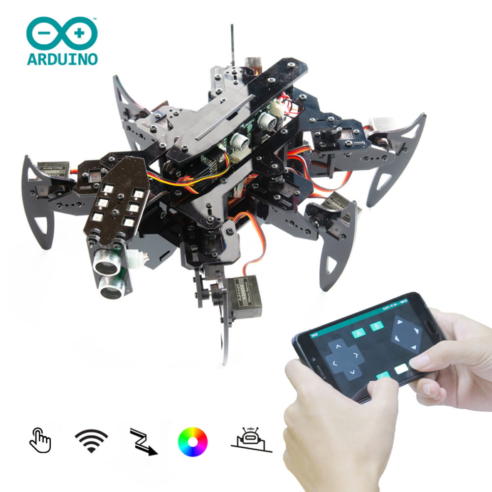 18 DOF Aluminium Hexapod Spider 6 Legs Robot Bracket Kit Compatible with Arduino