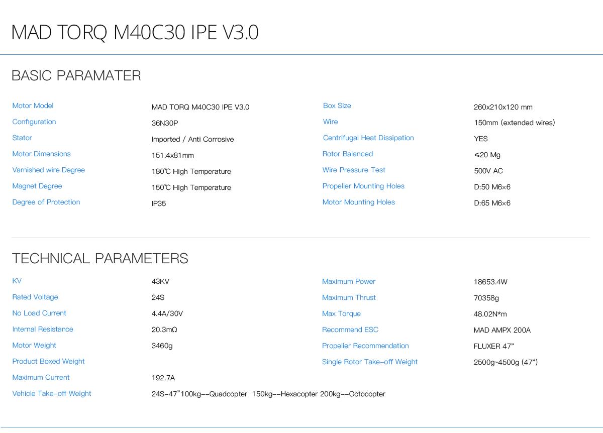 M40C30 V3.0 large drone motors